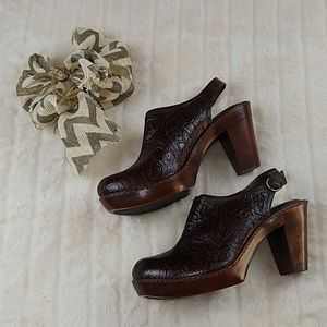 Nurture Embossed Tooled Leather Mule Heels Sz 11
